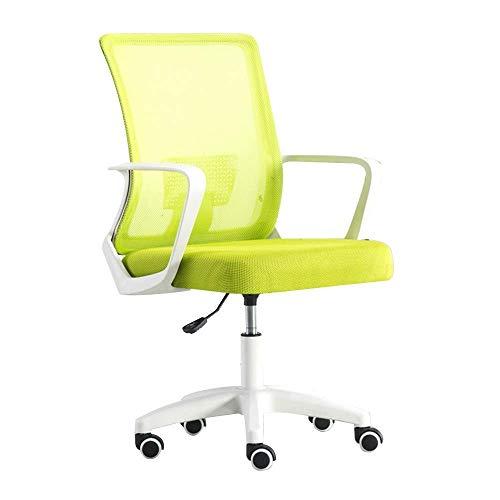 WSDSX Stuhl Bürostuhl Excutive Bürostuhl mit Lordosenstütze Mesh Computer Schreibtischstuhl Einteilige Armlehne Höhenverstellbarer ergonomischer Spielstuhl für Büro-Besprechungsraum, grün