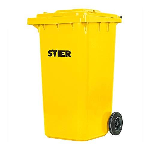 STIER 2-Rad-Müllgroßbehälter, Volumen 240 l, Mülleimer, gelb, BxTxH 576x720x1067 mm, Mülltonne, Hergestellt in Deutschland, Restmülltonne mit Rädern und Deckel
