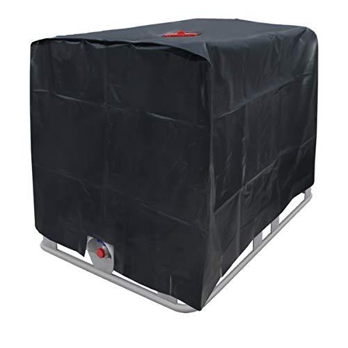 ECD Germany Abdeckplane schwere Qualität für Wassertank 1000 L 120 x 100 x 116 cm mit Lochausschnitt in Schwarz - Schutzhülle Schutzhaube Schutzplane UV-Folie IBC-Tank Regenwassertank Behälter