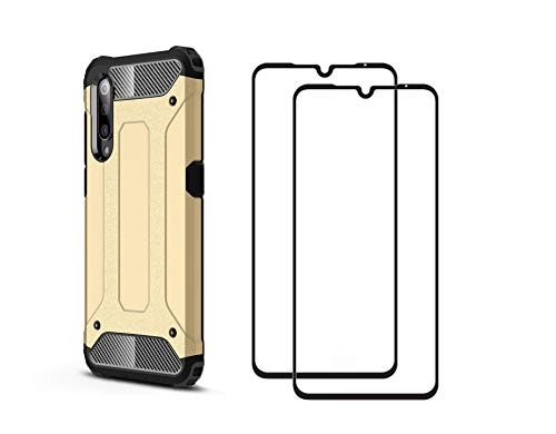 Dedux Cover Adatto per Xiaomi Mi 9 + [2 Pack] Pellicola Protettiva in Vetro Temperato Custodia Ultra-Sottile TPU Cassa Ibrido Doppio Strato,Oro