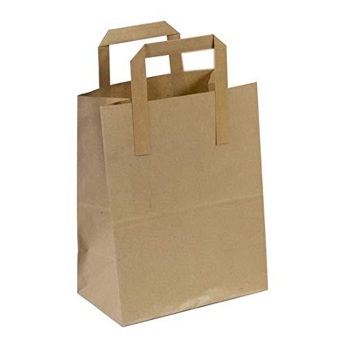The Paper Bag Company - Bolsas de papel con asas planas, 18x 23x 9cm, 100unidades, color marrón