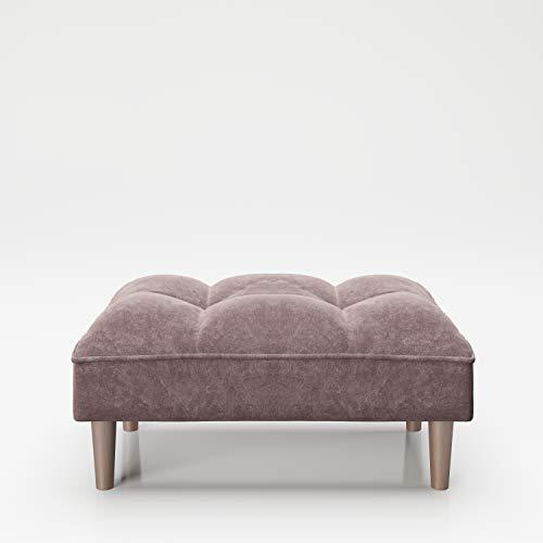 Ottomano PLAYBOY, imbottito, velluto rosa, rosa antico, sgabello poggiapiedi in tessuto, poggiapiedi,sgabello in tessuto, pouf di complemento per divano, design retrò, stile club