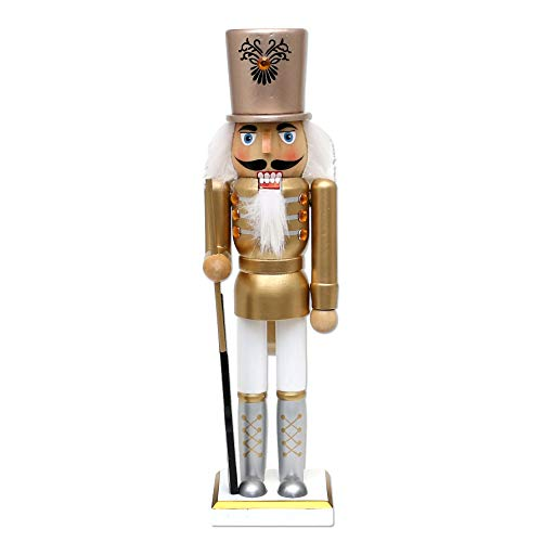 Dekohelden24 - Schiaccianoci Soldat in legno, colore: argento/oro/bianco, dimensioni L/L/A: 8 x 6,5 x 30 cm