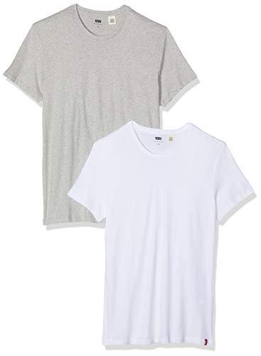 Levi's 2pk Crewneck 1 T-Shirt, Multicolore (2 Pack Slim Crew White/Med Heather Grey 0003), Medium Uomo