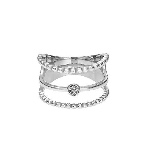 Heideman Ring Damen Unda aus Edelstahl Silber farbend poliert Damenring für Frauen mit Swarovski Stein Zirkonia