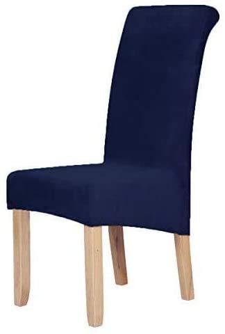 Homaxy Velvet Stretch Esszimmerstuhl Hussen - Spandex Plüsch Stuhlhussen Solide Großes Esszimmer Stuhl Protector Home Decor Set 6, Marine Blau