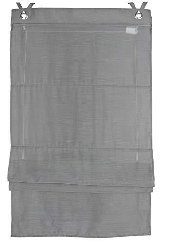 Deco4Me Raffrollo mit Hakenaufhängung 80x140cm grau Vorhang Ösenrollo Gardine Raffgardine