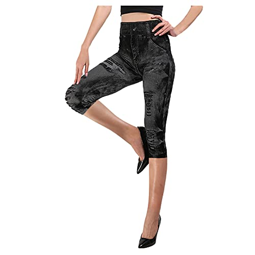 Womens Ripped Boyfriend Distressed Stretch Skinny Denim Jeans, Hip-up Bomb Slim Seven-Minute Pants with Hole
