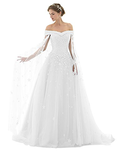 Off the Shoulder Wedding Dress With Pearls and Jewels With Silk Organza