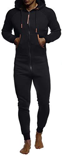 Leif Nelson Herren Overall Jumpsuit Onesie Trainingsanzug Jogginghose Trainings T-Shirt Fitness Männer Strampelanzug Bekleidung LN8270; Größe L; Schwarz