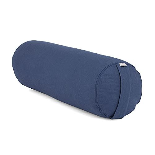 Coussin Bolster de Yoga Basic env. 65 x 23 cm, Coton Robuste, Housse Amovible, Lavable à 30°C, Passant pour Le Transport, Remplissage et Couleur au Choix (Bleu, cosses d épeautre)