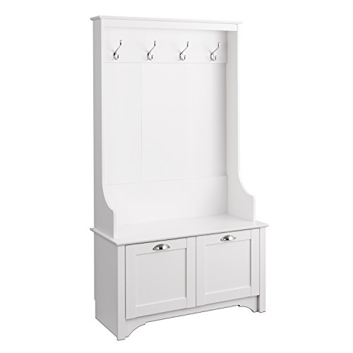 Prepac Wide Hall Tree with Shaker Doors in White Finish