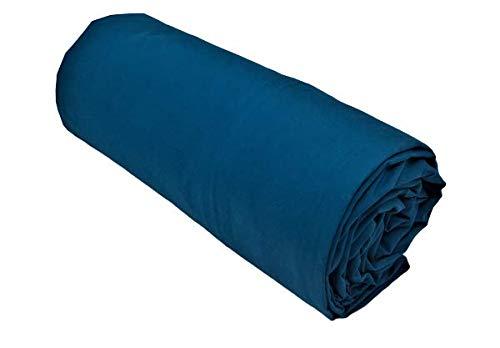 Salomé Prestige - Lenzuolo con angoli, in percalle di cotone a 80 fili/cm², 200 x 200 cm, con angoli da 40 cm, colore: Blu anatra