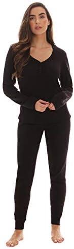 followme Womens Thermal Henley Jogger Pant Set 6790 BLK M Black product image