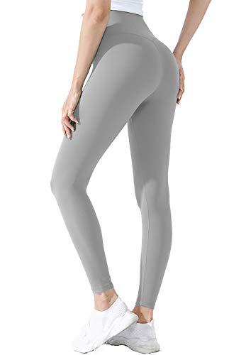 INSTINNCT Sport Legging Donna Push-up Pantaloni Elasticizzati Vita Alta Calzamaglia Dimagrante Legging Confortevole per Yoga Palestra Fitness #2 Grigio Chiaro di Base M