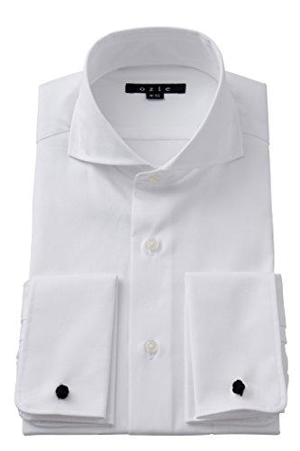[オジエ] ozie【ワイシャツ・カッターシャツ】タイトフィット・ダブルカフス・プレミアムコットン・形態安定・ホリゾンタルカラー