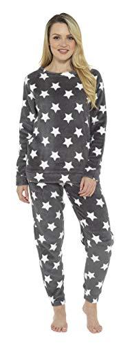CityComfort Schlafanzüge Damen Lang | Fleece Damen Zweiteiliger Schlafanzug | Ganzkörperanzug Pyjama Damen Mädchen Lang | Geschenk für Frauen, Geburtstag, Weihnachten (44/46 EU, Sternendruck)