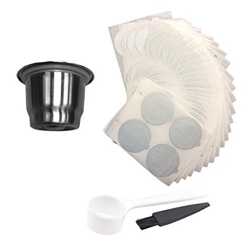 HomeDecTime Sicherheit Kaffeefilter Metallbecher mit 100 Stück Aluminiumfoliendeckel für