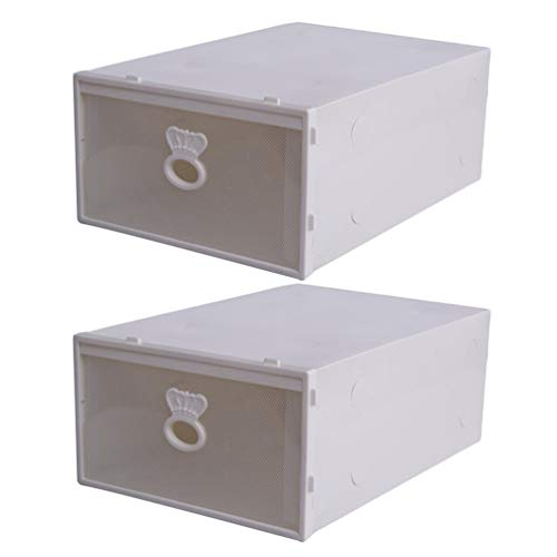 Dooxii Schuhbox Transparent aus Schuhkartons wasserdichte Aufbewahrungsbox für Männer und Frauen (Weiß,33 * 23 * 14 cm)