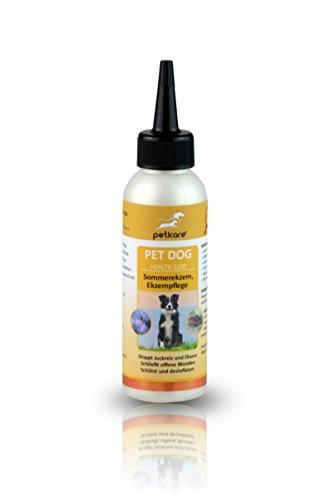 Peticare Spezial-Pflege für Hunde bei Dermatitis, Neurodermitis, Sommer-Ekzem - Schnelle Linderung gegen Juckreiz, pflegt Haut-Rötungen beim Hund, pflanzliche Inhaltsstoffe - petDog Health 2100