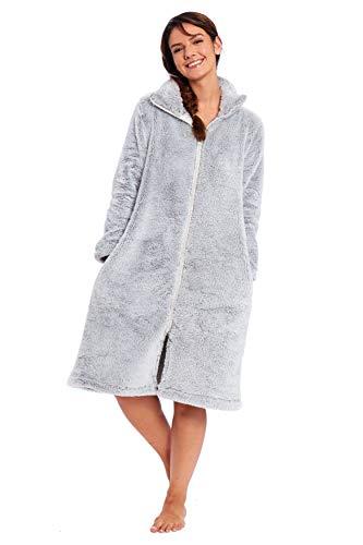 Habigail – Albornoz suave de forro polar para mujer, con cremallera