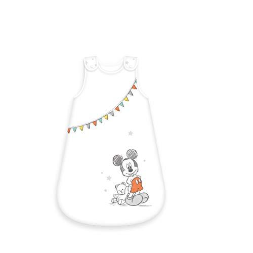 Herding DISNEY MICKEY MOUSE Baby-Schlafsack, 90 cm, Seitlich umlaufender Reißverschluss und Druckknöpfe, Weiß