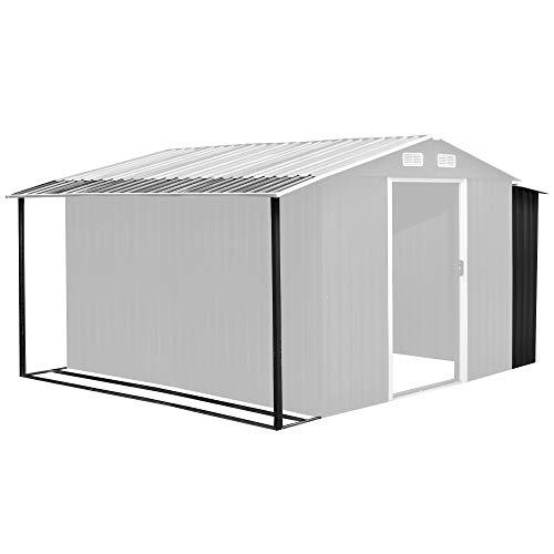 Zelsius Gerätehausanbau | 303 x 156/146 x 42 cm | anthrazit Gerätehaus mit den Maßen: 300 x 250 cm