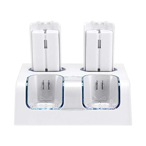 Charging Station for WII Remote, Lavuky WD02 Wii Remote Charger Dock with 2800mAh Rechargeable Batteries and LED Light Indicator - Light White