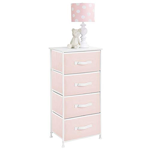 mDesign 4-Drawer Vertical Dresser Storage Tower - Sturdy Steel Frame, Wood Top and Easy Pull Fabric Bins, Multi-Bin Organizer Unit for Child/Kids Bedroom or Nursery - Light Pink/White