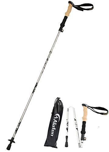 A ALAFEN Walking Stick - Collapsible Trekking Pole for Men and Women,7075 Aluminum Hiking Stick for Seniors (Silver)