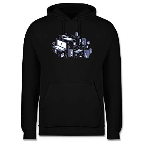 Shirtracer Nerds & Geeks - Netzwerk Design - L - Schwarz - Technik für männer - JH001 - Herren Hoodie und Kapuzenpullover für Männer