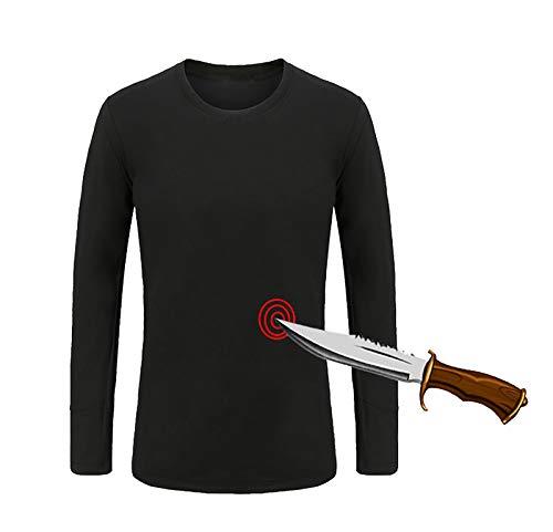 QSMGRBGZ Stichfeste Weste, Ultra dünner weicher Stichschutz T-Shirt, Anti-Cut/Anti-stab Langarm-Unterhemd, im Freien Leichter versteckte Schutzweste,S