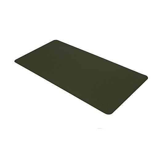 PU Couro Protetor Pad Mouse Pad Mesa Escrita À Prova D 'Água Anti-óleo para Escritório e Casa (Verde & Cinza, M)