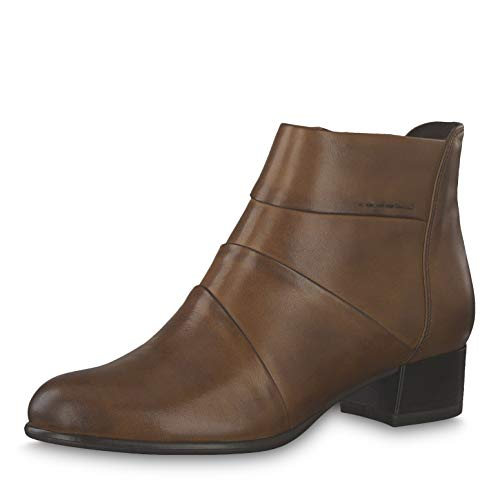 Tamaris Damen Stiefeletten 25366-23, Frauen Ankle Boots, knöchelhoch reißverschluss Damen Frauen weibliche Lady Ladies feminin,Cognac,37 EU / 4 UK