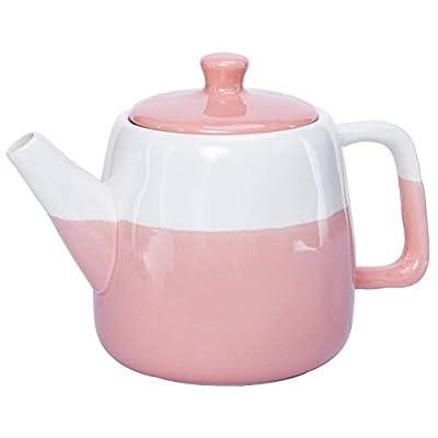 Hompiks Tea Pot Porcelain Teapot Large Pink Tea Pots for Tea Party Decorative Loose Tea 38 oz