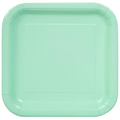 Unique Party- Assiettes en Carton Carrées Écologiques-23 cm-Couleur Vert Menthe-Paquet de 14, 99275EU, Mint Green