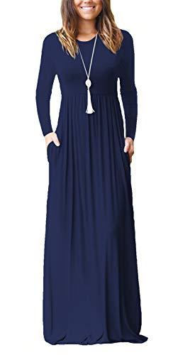 ZIOOER Damen Casual Lose Maxikleider Lange Ärmel Kleider Lange Kleid mit Taschen Navy Blau L