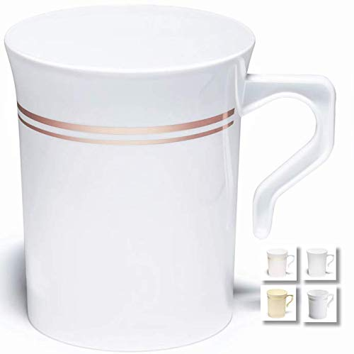 Occasions 40 Pack, Schwergewicht Einweg Hochzeit Kunststoff 8 Unzen Kaffeetassen Silber Trim/Tee-Becher/Cappuccino Cups/Espressotasse mit Henkel (8 oz Tassen, weiß w/Rose Gold Rim)