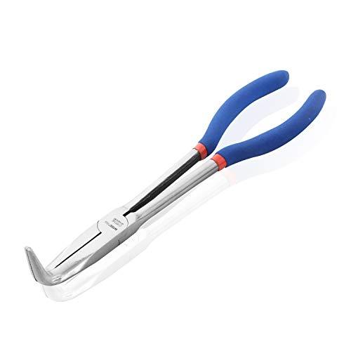Wisepro - Alicates de punta de aguja de largo alcance extralargo de 11 pulgadas/16 pulgadas con mandíbula recta/doblada para la fabricación de joyas o reparación del hogar