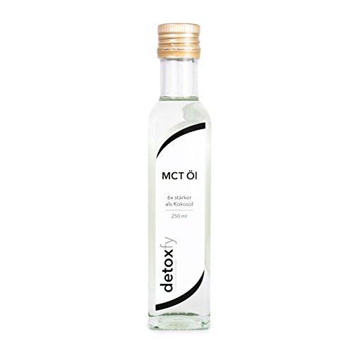 Detoxfy MCT Öl, Premium Qualität, (6x stärker als Kokosöl – Geschmacksneutral), 1er Pack (1 x 250 ml) in praktischer Glasflasche