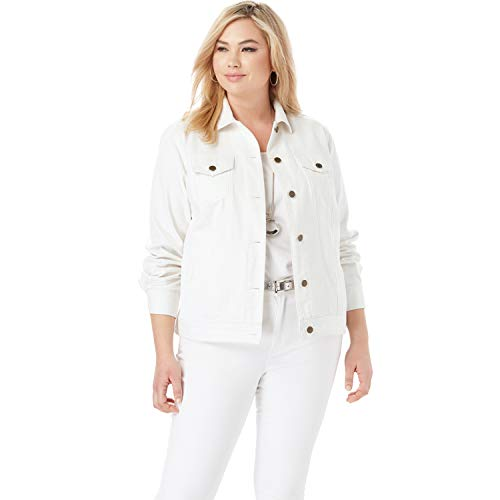 Jessica London Women's Plus Size Classic Cotton Denim Jacket - 22, White
