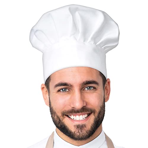 APRON DADDY Chef Hat - Adult Adjustable Kitchen Cooking Hat for Men & Women Chefs - Reusable and Washable Durable Cook Cap - White