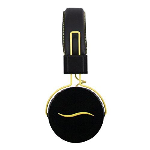 Hi-Fun Hi-Deejay Cuffia Professionale in Metallo, Microfono e Tasto Multifunzionale, Nero/Giallo