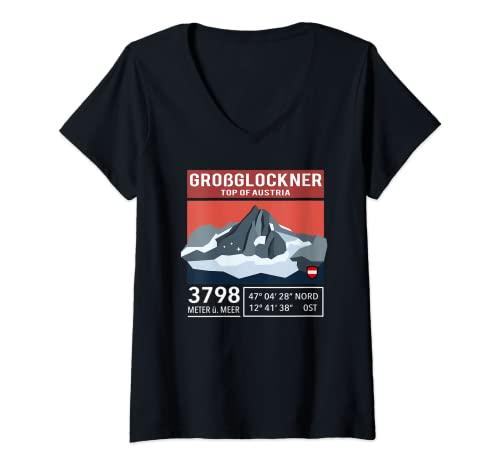 Mujer Großglockner Hohe Tauern Karinten Tirol Austria Montana Camiseta Cuello V