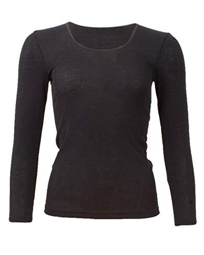 Cosilana, Damen Unterhemd Langarm, 70% Wolle 30% Seide (36/38, Schwarz)