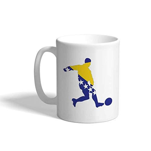 Aangepaste grappige koffiemok koffiebeker voetballer Bosnië en Herzegovina witte keramische theekop 11 Ounces Design Only Multi01
