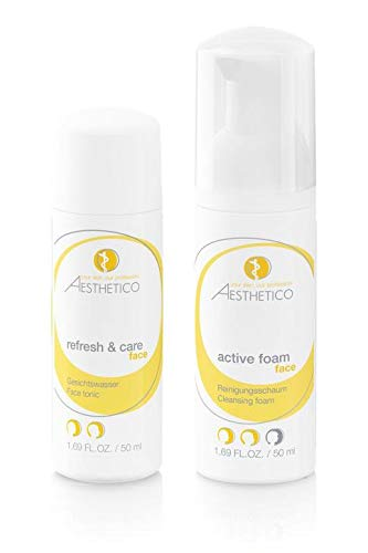 AESTHETICO Reiseset - Hautreinigung für unterwegs, hautaktivierender Reinigungsschaum und beruhigendes Gesichtswasser, Reisegröße für das Handgepäck, 50 ml