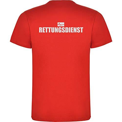 Rettungsdienst Herren Men's T-Shirt Licht-reflektierende Folie Aufdruck L24 rot red (XXL)