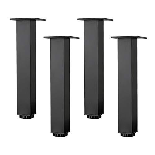 Patas para Muebles de Aleación de Aluminio de 0-15mm Ajustables en Altura,Patas de Mesa de Sofá Cuadradas,Patas de Gabinete de Baño de Lavabo,5-40cm,Negro Mate,4 Piezas (35cm/13.8in)