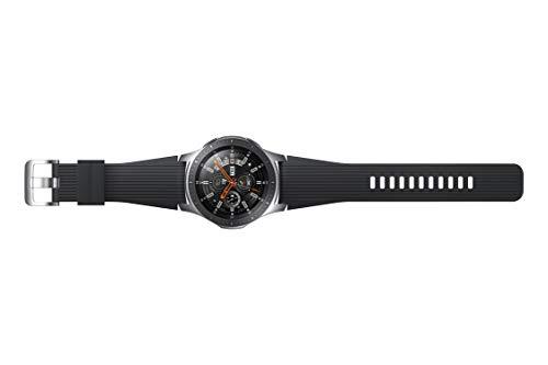 Samsung Galaxy Watch, Runde Bluetooth Smartwatch Für Android, drehbare Lünette, Fitness-tracker, 46mm, ausdauernder Akku, Silber (Deutche Version)